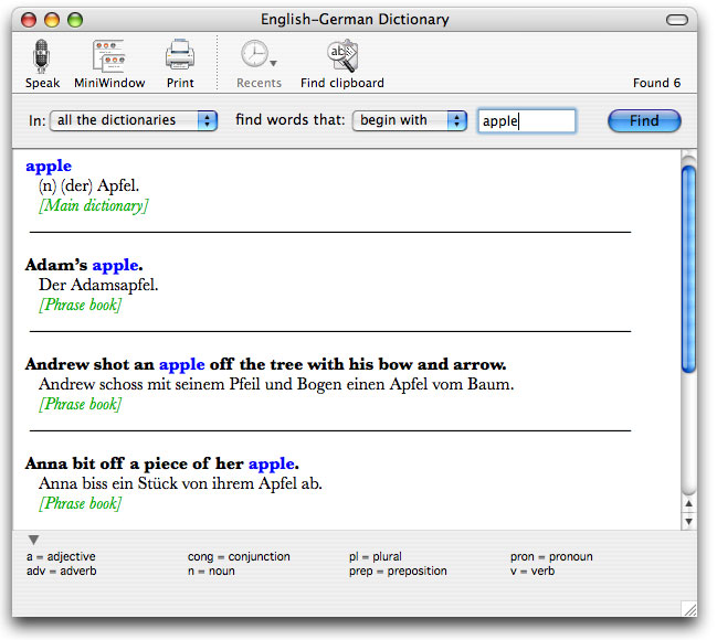 Apimac English German Dictionary is a useful dictionary with grammatical notes.