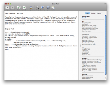 Clean Text Mac Screenshot