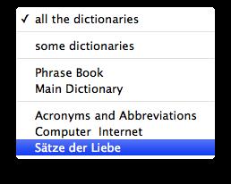 English-German Dictionary Search Pop Up Menu
