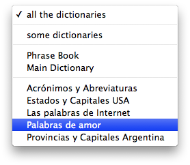 English-Spanish Dictionary Search Pop Up Menu