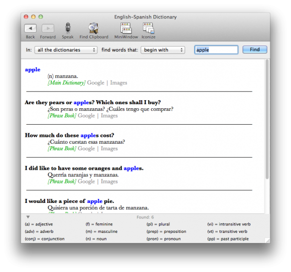 English-Spanish Dictionary Screenshot Mac