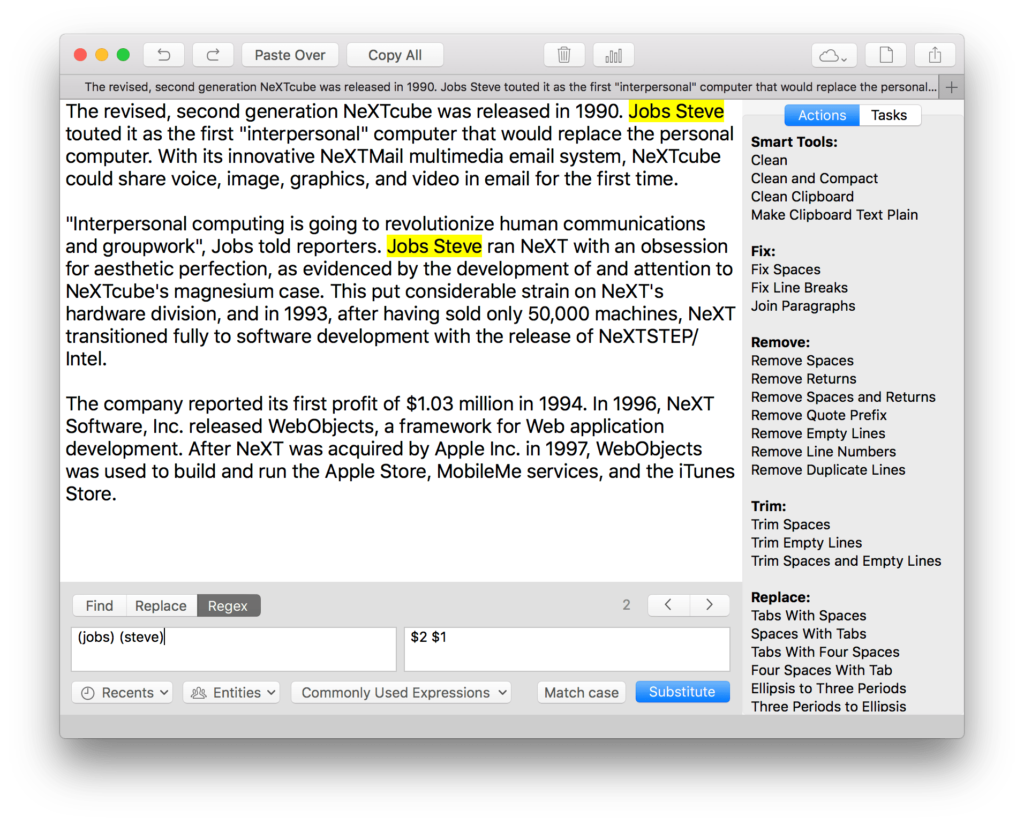 Using Regex on Mac